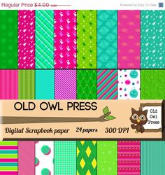 Christmas Scrapbook paper digital, 12 by 12, pink, green, teal, you print, printable, Instant download