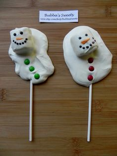 Christmas Melted Snowman Chocolate Pops by BubbasSweets on Etsy, $12.00