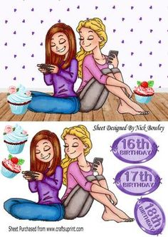 Best of friends texting with yummy cupcakes on Craftsuprint - Add To Basket!