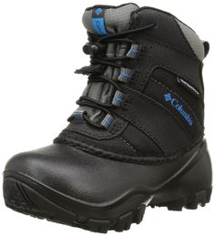 Columbia Childrens Rope Tow I WP Winter Boot (Toddler/Little Kid), Black/Dark Compass, 13 M US Little Kid. Omni grip non marking traction rubber. Techlite lightweight flexible shell. Waterproof polyurethane coated leather and synthetic nylon. Bungee lace closure system. 200 grams insulation. Rated -25 Fahrenheit and -32C. Waterproof seam-sealed construction.