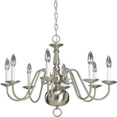 Progress Lighting Americana 8 Light Candle-Style Chandelier Finish: Brushed Nickel