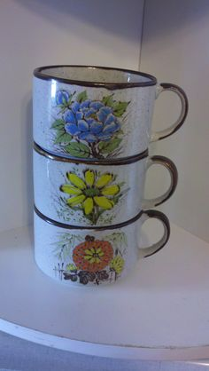1970's Japan Stackable Stoneware Soup Mugs by emVintageThrift, $10.00