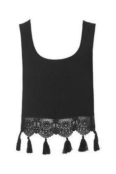 Crochet Tassel Trim Vest - Swimwear & Beachwear - Clothing  #swimwear #beachtrip #vacation #sunny #women #covetme