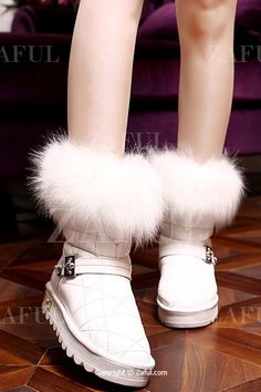 Faux Fur Metal Stitching Snow Boots