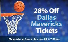 $55 (28% off) Dallas Mavericks Tickets vs San Antonio Spurs Fri. Jan. 25 @ 7:30pm - Crowd Seats Cheap Sports Tickets
