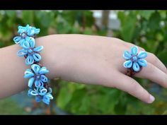 Rainbow loom Forget-me-not bracelet and ring tutorial in english DIY - YouTube