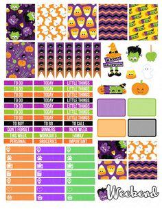 Printable Planner Stickers Halloween Cuties for by LaceAndLogos