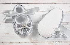 Silver Baby Shoes Baby Girl Shoes Crib Shoes Infant by AdeliaJade