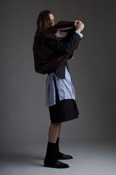 Vintage Issey Miyake Men's Shirt and Jil Sander Shorts Bottega Veneta Blazer Jacket Hed Mayner Leather Vest Designer Clothing Dark Minimal Fashion