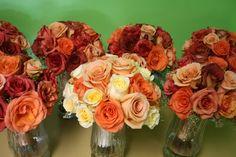 peach, orange, burnt orange wedding colors. I adore this color scheme for fall weddings!!!