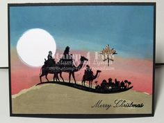 Gorgeous Wise Men Christmas Card...using a brayer and masking out...  www.stamp4fun.typepad.com.