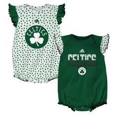 This darling pair of basketball fan baby girl outfits is sure to bring a smile to Boston Celtics fans everywhere! The bodysuits are sleeveless with a ruffled detail on the shoulders. They feature official Celtics colors and logos screen-printed in a glittery gel. One is covered in cheerful polka dots on the body of the shirt and the other features the polka dots on the ruffled sleeves. Snap closures at the legs provide for quick and easy changes.