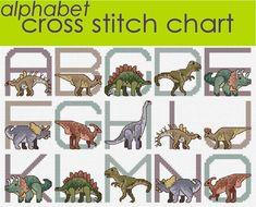 Dinosaurio Alphabet Sampler Cross Stitch gráfico por clairecrompton
