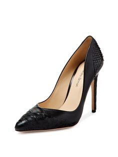 Leather & Python Pointed-Toe Pump by Alexandre Birman at Gilt