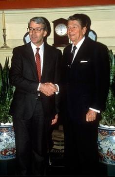 PRIME MINISTER JOHN MAJOR AND RONALD REAGAN..