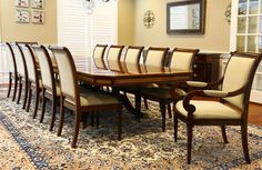 Large Dining Room Table, Custom Dining Tables, Dining Table Chairs, Dining Room Furniture, Traditional Office, Traditional Furniture, Expandable Round Dining Table, Mahogany Dining Table, Table Seating