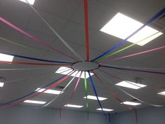 Cafeteria ceiling Summer Camps, Big Top, Pta, Colorful Decor, Classroom Decor, Back To School, Ceiling, Decorations, Education