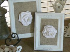 Framed Shabby Chic Fabric Roses   on by ShabbieChicHome on Etsy, $22.00