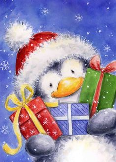 Penguin holding presents
