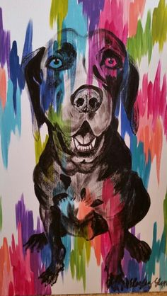 Winston on chromatic strokes canvas by Lezley Lynch Designs, Edmond, OK