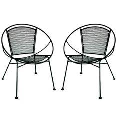 Pair of Salterini Hoop Patio Chairs Mid Century Modern Wrought Iron Radar on Etsy, $675.00
