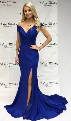 royal blue prom dress 2018, off the shoulder mermaid long prom dress with side slit, gorgeous mermaid long evening dress with train #longpromdresses