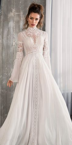 riki dalal 2018 glamour bridal long bell sleeves high neck heavily embellished bodice romantic bohemian a line wedding dress cross strap back sweep train mv -- 100 Wedding Dresses You Loved in Ball Gowns & A-Lines Bridal Gowns, Wedding Gowns, Wedding Dress 2018, Bridal Dresses 2018, 40s Wedding, 2017 Bridal, Chic Wedding, Elegant Wedding, Wedding Bride