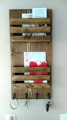 2 Tier Mail Organizer, Mail Holder, Mail, Rustic Organizer, Personalized Option Available New Pallet Ideas, Diy Pallet Projects, Woodworking Projects, Design Projects, Mail And Key Holder, Mail Holder Wall, Key Holders, Decoration Palette, Palette Diy