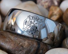 Tunsten Ring 10mm Dome Firefighter Design on Etsy, $49.00
