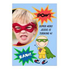 Custom Photo Super Hero Blond  Boy Birthday Invite  See lots more invites for $1.95 at http://www.zazzle.com/kids_birthdays/gifts?cg=196564910698490603rf=238785193994622463=pin  #birthday invites #kids birthdays #invitations