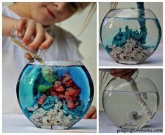 How to Make Magic Aqua Sand - So much FUN for the kids to create underwater sculptures! It's reusable too! YouTube video included.