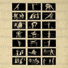 Digital Image Sports Collage Sheet Graphic Antique Artwork
