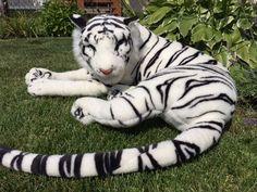 "HUGE Toys R Us Animal Alley Plush White Siberian Tiger 50"" Stuffed GIANT Bengal #ToysRUs"
