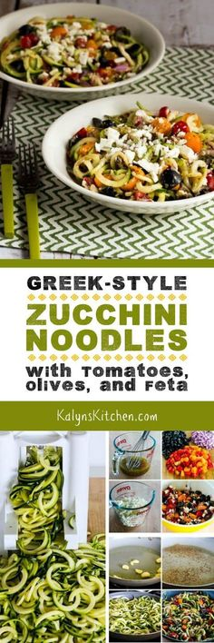 I think these Greek-Style Zucchini Noodles with Tomatoes, Olives, and Feta are a perfect summer meal! And this tasty dish with Greek-Salad. Zoodle Recipes, Spiralizer Recipes, Vegetable Recipes, Greek Recipes, Vegetarian Recipes, Cooking Recipes, Healthy Recipes, Delicious Recipes, Veggie Noodles
