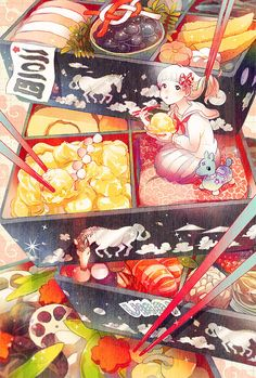 Discovered by Find images and videos about food, anime and kawaii on We Heart It - the app to get lost in what you love. Anime Chibi, Kawaii Anime, Manga Anime, Anime Art, Cute Food Drawings, Kawaii Drawings, Cute Food Art, Cute Art, Food Illustrations
