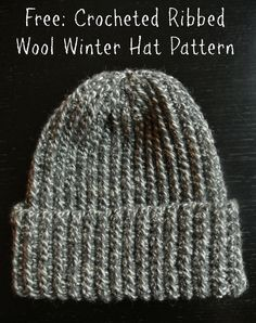 Ribbed hat crochet pattern                                                                                                                                                     More