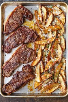 Sheet Pan Steak and Fries - The classic steak and fries easily made right on a sheet pan on ONE PAN! Bake your fries first, then add the steaks! and easy dinner recipes Sheet Pan Steak and Fries Healthy Diet Recipes, Healthy Meal Prep, Cooking Recipes, Cooking Tips, Crockpot Recipes, Cooking Games, Oven Recipes, Healthy Food, Meat Recipes
