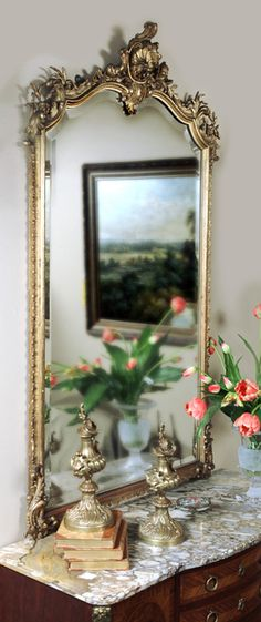 Antique Louis XV Gilded Mirror | Gilded Mirrors | Inessa Stewart's Antiques #antique #french #mirror
