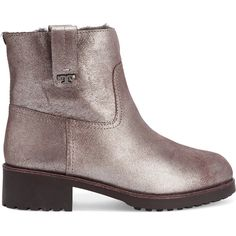 Tory Burch Wayland shearling-lined metallic suede boots (£155) ❤ liked on Polyvore featuring shoes, boots, silver, metallic shoes, suede boots, mid-heel shoes, slip-on shoes and tory burch shoes