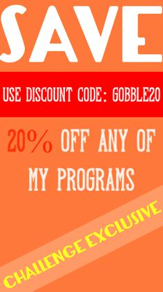 The challenge is workout based. To get the BEST results I HIGHLY suggest coupling this with the 7 day jump start program Use coupon GOBBLE20 and SAVE on it! You will learn how to eat to CHANGE your body! SO EXCITED to do this 7 Day Challenge with you all! REPIN if you are in!