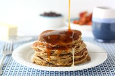 Spiced Chocolate Chip Pancakes with Homemade Caramel Syrup | Chocolate Moosey
