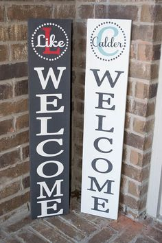 Porch Sign - Welcome Sign - Front Porch Sign - Sign for front porch - Custom Wood Sign What a great way to welcome your friends and family to your home! This wood sign is made to order. There may be variations in the wood since no boards are alike. A perfect gift for that special someone. Sign information: Size is 36x7 Pine wood PAINTED LETTERS: Each sign is painted in your choice of light black or white. Letters will be the opposite color. Your choice of color for the capital letter…