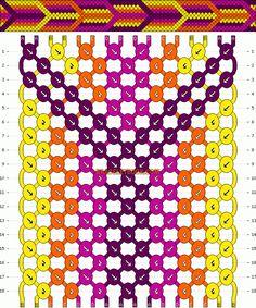 16 fils et 4 couleurs on peut aussi le réduire de moitié en faisant des rangs simples au lieu de les doubler pour chaque couleur. Mais l'effet n'est pas le même.