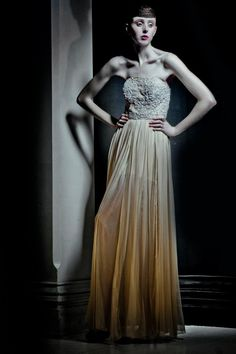 Jaimie Sortino Couture- French Lace Detailing With Georgette Pannel Skirt