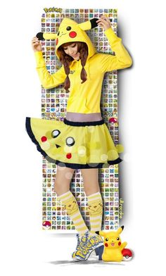 """Pika-Pika!"" by ultracake ❤ liked on Polyvore featuring art, yellow, dolls, Pokemon, pikachu and ultracake"