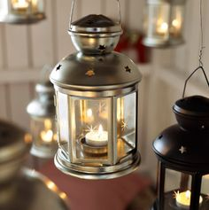 Galvanised and black ROTERA lanterns for tealights