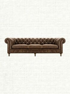 """Wessex 109"""" Tufted Leather Sofa In Bronco Whiskey"""