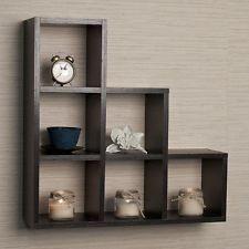 Floating Wall Shelf Shelves Shelving 6 Cubby Home Decor Display Ledge Wooden NEW