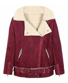 Lapel Collar Lambswool Lined Suede Coat