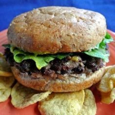 Black Bean Burgers with little bits of carrot and corn.